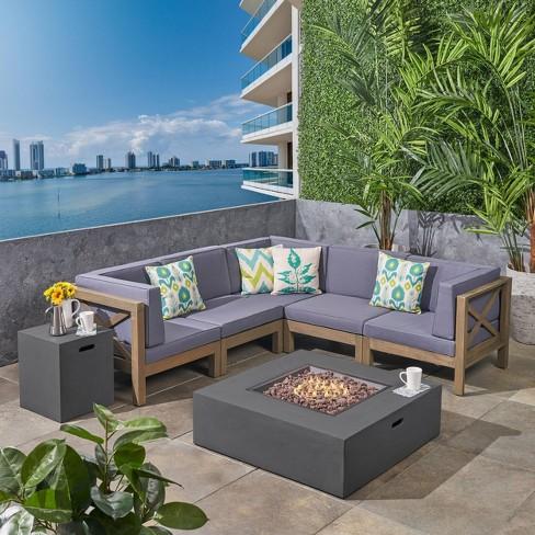 7pc Brava Acacia Patio Sectional Sofa, Outdoor Furniture Sectional Sofa
