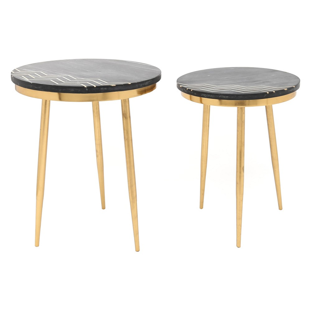 Image of Set of 2 Modern Round Faux Marble Accent Tables Black Marble/Brass - ZM Home