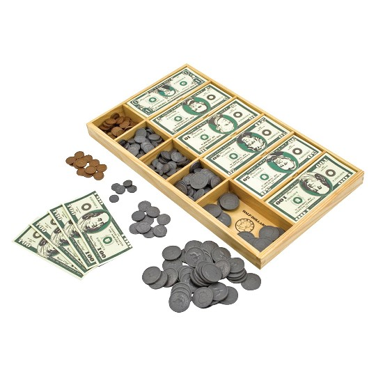 Melissa & Doug Play Money Set - Educational Toy With Paper Bills and Plastic Coins (50 of each denomination) and Wooden Cash Drawer for Storage image number null