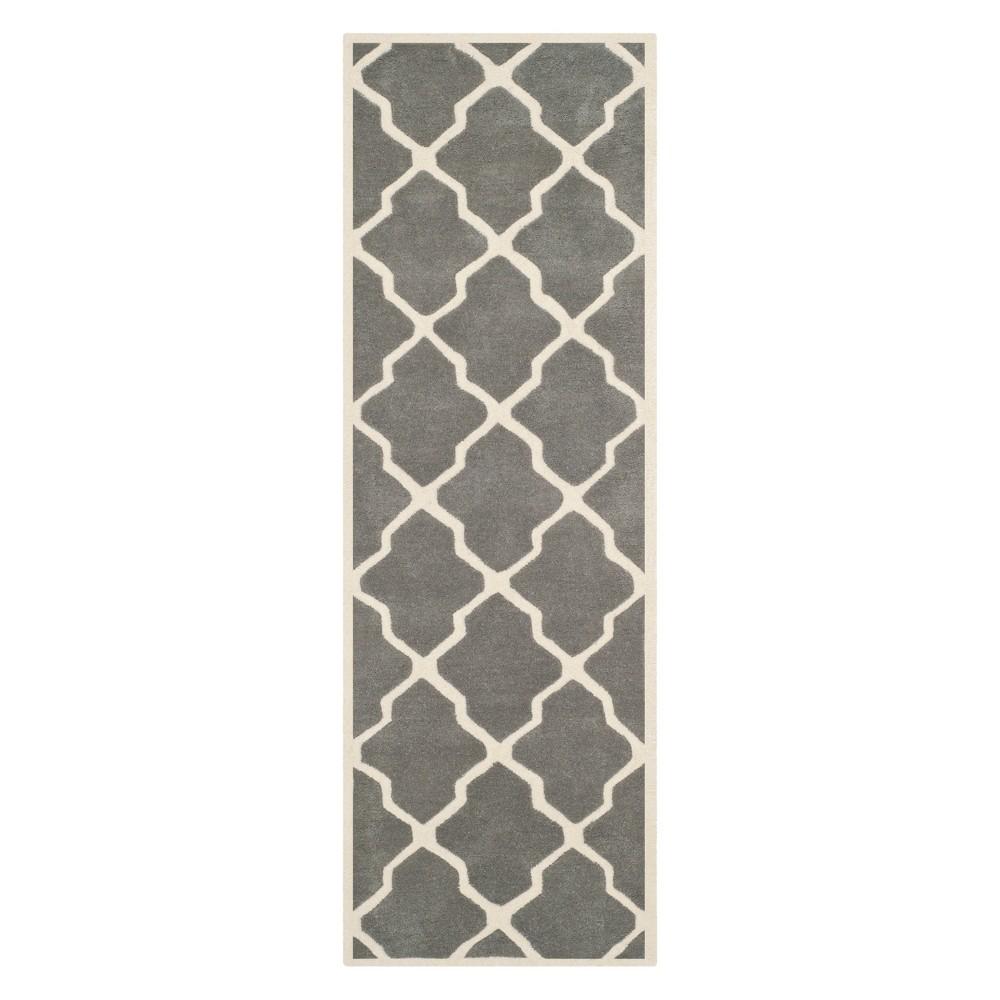 23X9 Quatrefoil Design Tufted Runner Dark Gray/Ivory - Safavieh Coupons