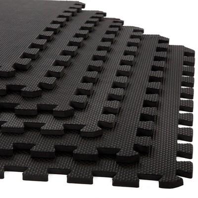 "Stalwart 25""x25"" 6pk Interlocking EVA Foam Floor Mats Black"
