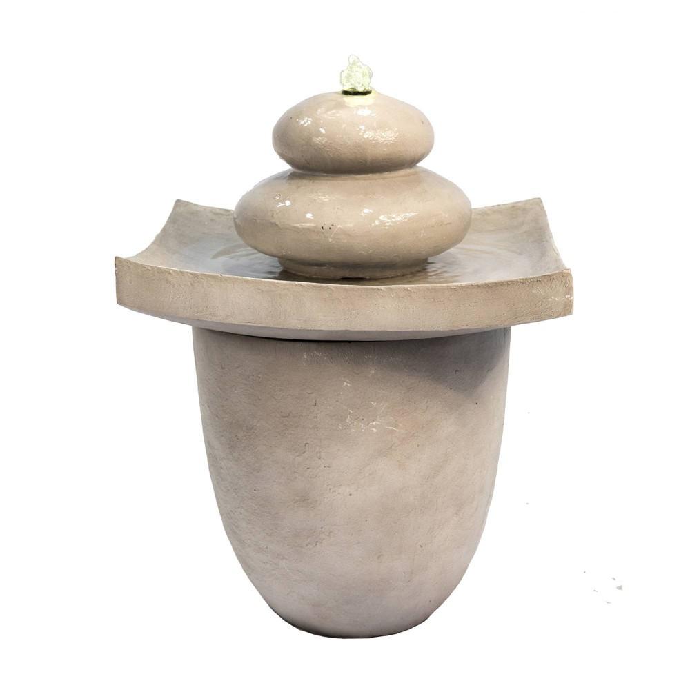 """Image of """"24.4 """""""" Zen Stones Outdoor Fountain with LED Light Tan - Peaktop, Beige"""""""