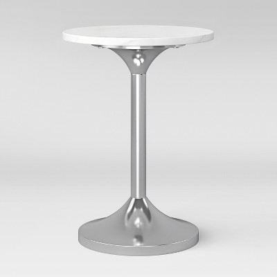 Toulon Marble Top Pedestal Accent Table White/Silver Fully Assembled    Project 62™