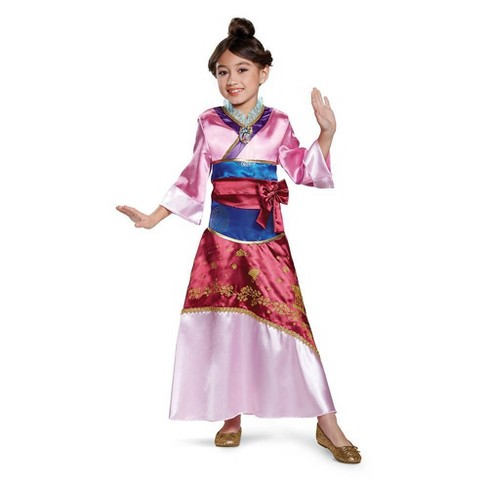 Kids Deluxe Disney Princess Mulan Halloween Costume Dress M 7 8 Target