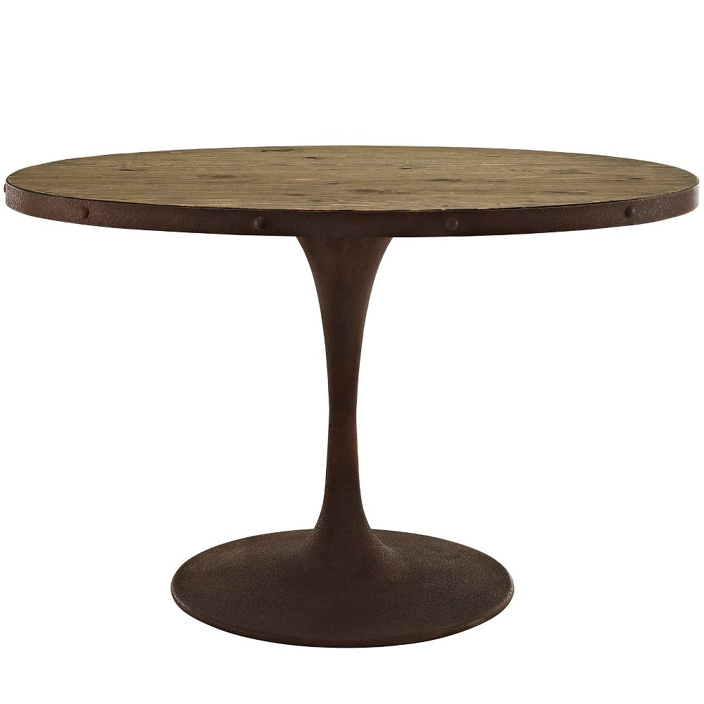 Drive 47 Oval Wood Top Dining Table Brown - Modway