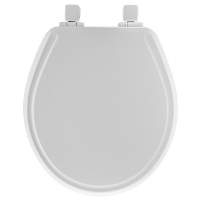 Mayfair Round Molded Wood Toilet Seat with Whisper Close with Easy Clean & Change Hinge and STA-TITE Seat Fastening System White - Mayfair