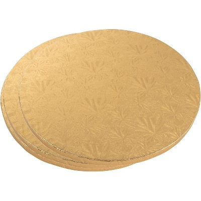"""Juvale 3 Piece Cake Boards Rounds, Gold Foil Pizza Base Disposable Drum Circles, Corrugated Paper Board 14"""""""