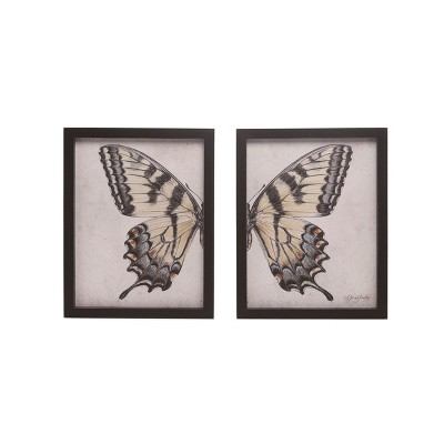 Transpac Wood 13 in. Multicolor Spring Split Butterfly Wall Decor Set of 2
