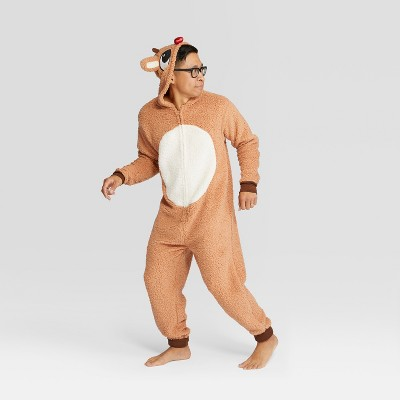 Men's Rudolph the Red-Nosed Reindeer Holiday Union Suit - Brown L