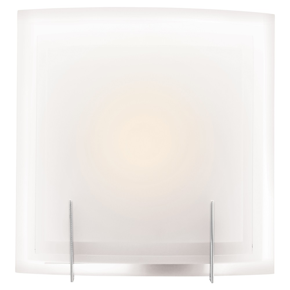 Nitrous Fluorescent Wall Light with Frosted Glass Shade - Brushed Steel (Silver)