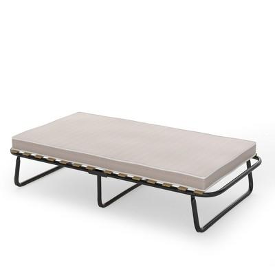 Costway Folding Bed w/Memory Foam Mattress Metal Guest Sleeper Wood Slats