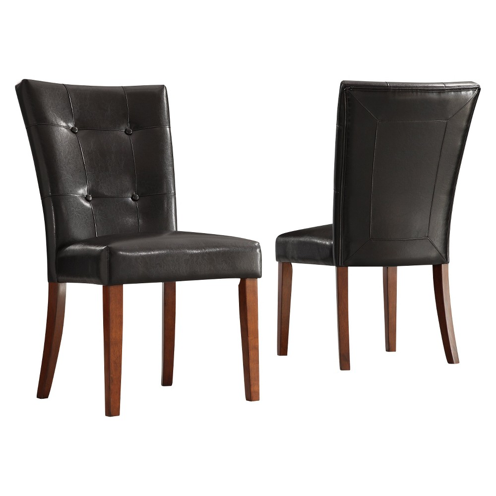 Set Of 2 Alexandra Tufted Vinyl Side Chairs Dark Brown Inspire Q