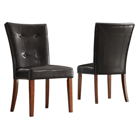 Set Of 2 Alexandra Tufted Vinyl Side Chairs Dark Brown Inspire Q