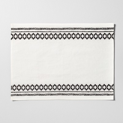 Placemat with Embroidery - Black / White - Hearth & Hand™ with Magnolia