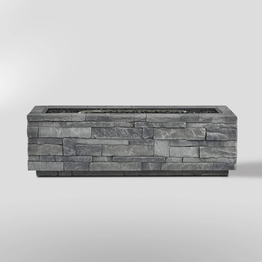 Ledgestone Rectangle Fire Table with Natural Gas Kit Gray - Real Flame