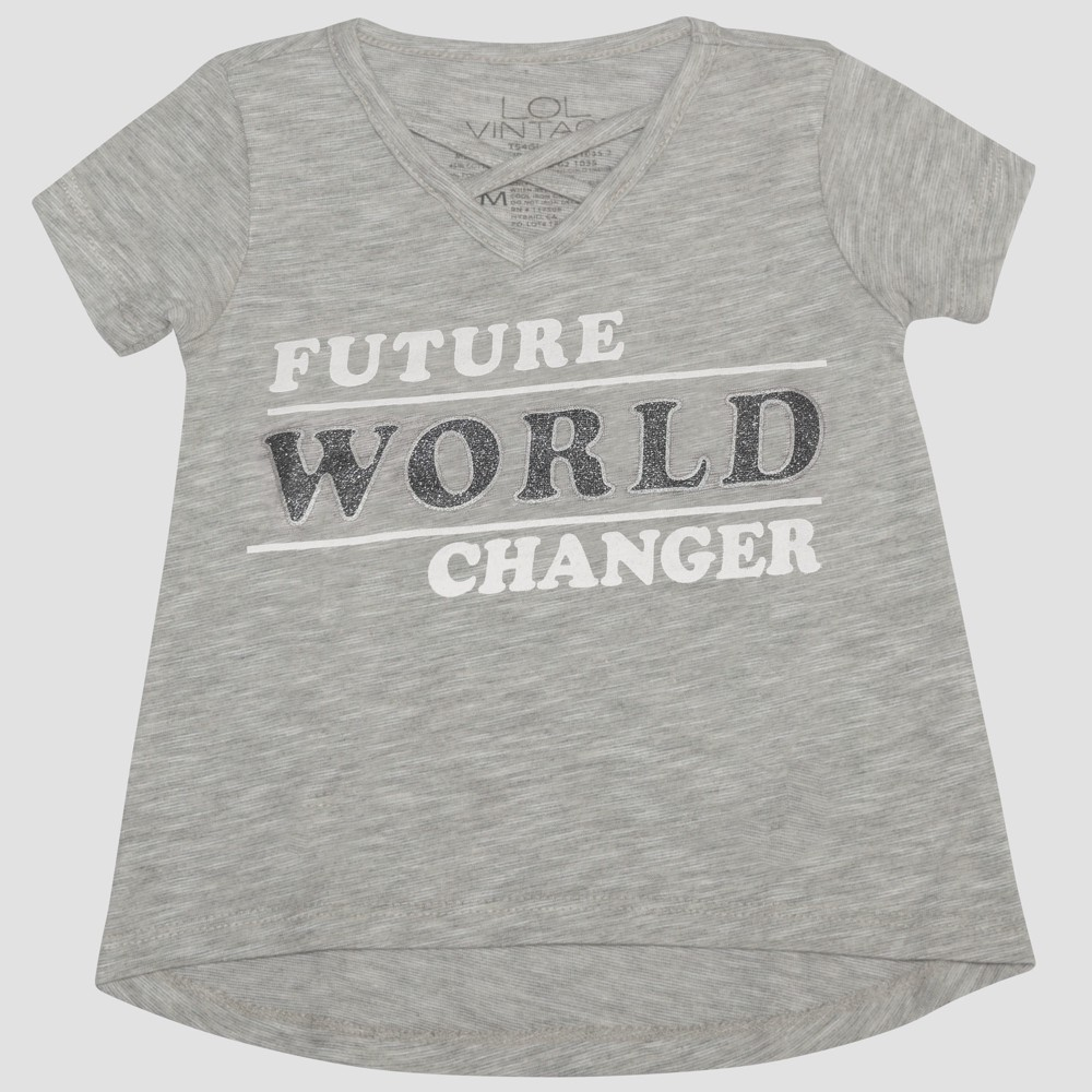 Toddler Girls' L.O.L. Vintage Future World Changer Short Sleeve T-Shirt - Heather Gray 5T