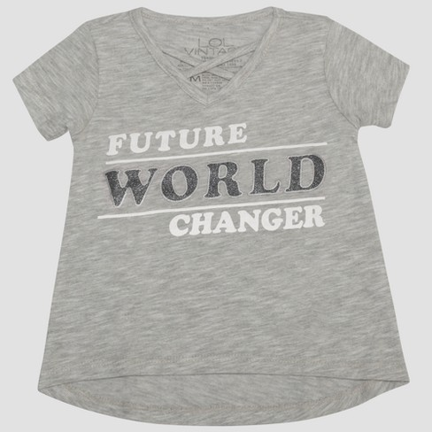 Toddler Girls' L.O.L. Vintage Future World Changer Short Sleeve T-Shirt - Heather Gray - image 1 of 2