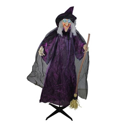 """Northlight 66"""" Prelit Touch Activated Standing Witch and Broomstick Animated with Sound Halloween Decoration - Purple/Black"""