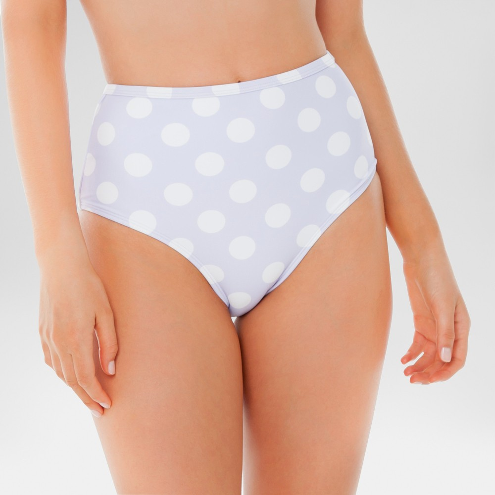 Women's High Waist Bikini Bottom - Sugar Coast by Lolli Lavender/White Dot L, Purple