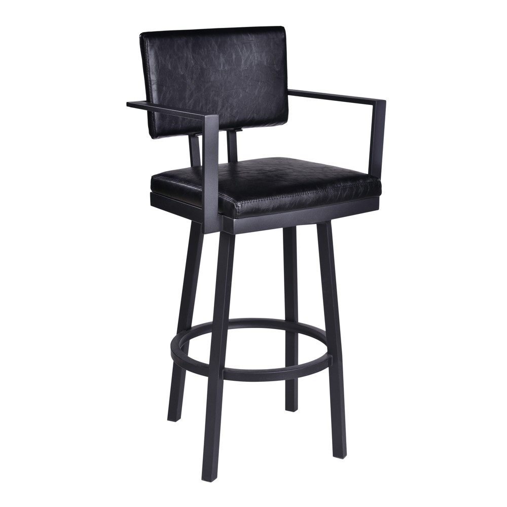 30 Armen Living Balboa Bar Height Barstool with Arms Vintage Black, Vintage Black Faux