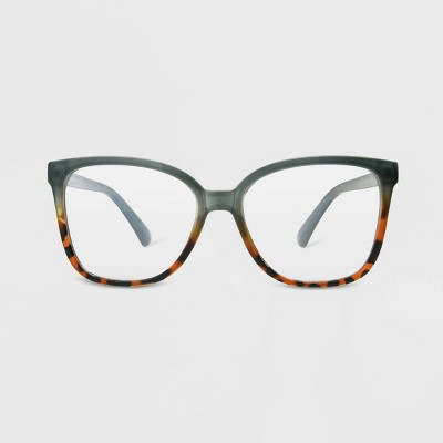 Women's Blue Light Filtering Square Glasses - A New Day™ Light Blue