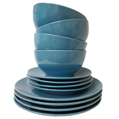 12pc Stoneware Colors Dinnerware Set Blue - Tabletops Gallery
