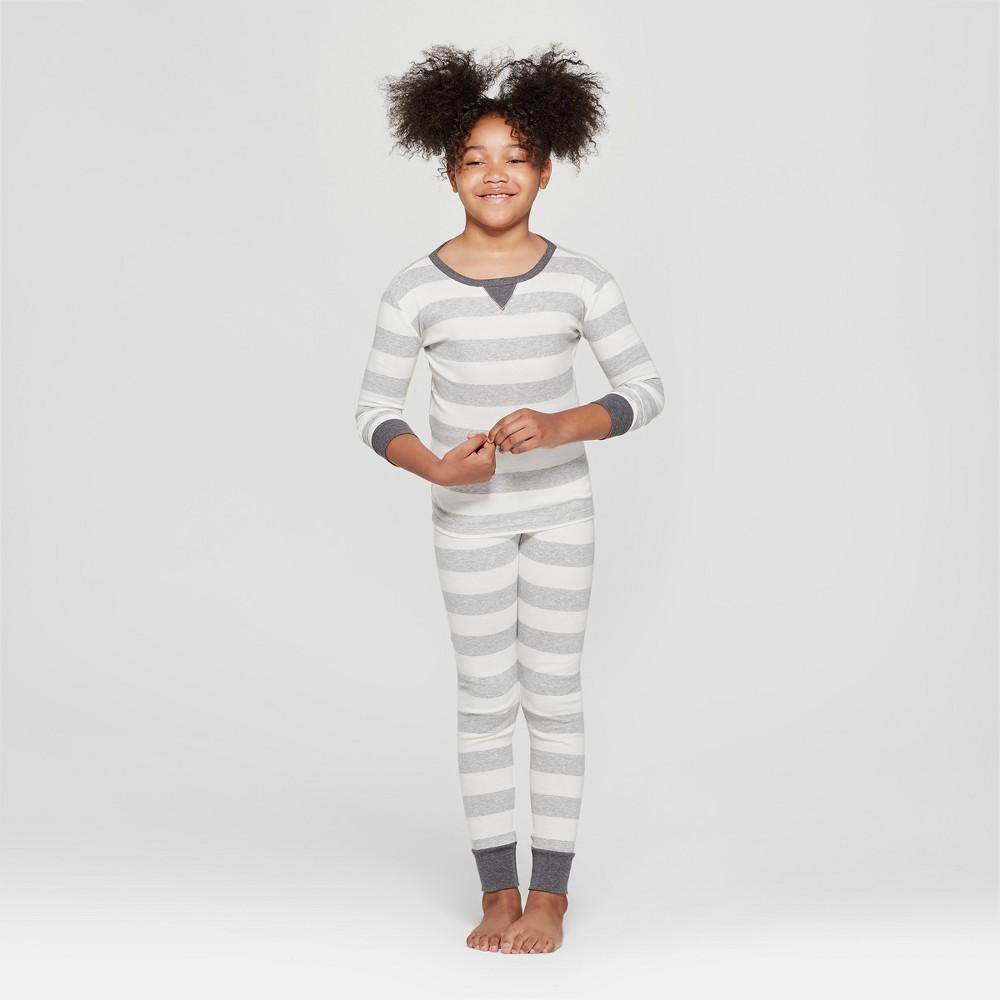 Kid's Striped Pajama Set - Gray 6, Kids Unisex