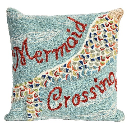 "Blue Frontporch Mermaid Crossing Indoor/Outdoor Throw Pillow (18""x18"") - Liora Manne - image 1 of 1"