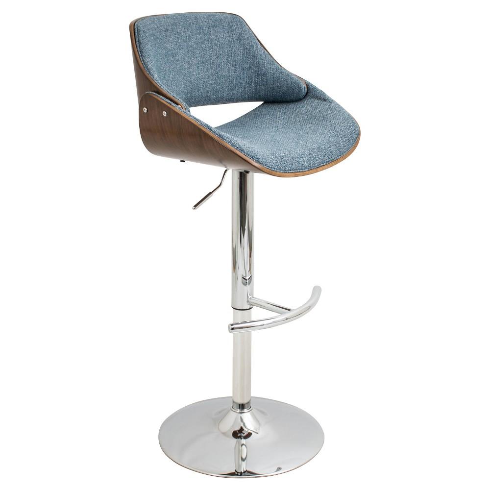 Fabrizi Mid-Century Modern Adjustable Barstool - Blue - LumiSource
