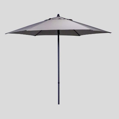 7.5' Round Patio Umbrella Taupe - Black Pole - Threshold™