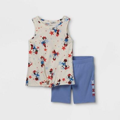 Girls' Disney Minnie Mouse Stars Printed Tank Top & Biker Shorts Set - Off-White