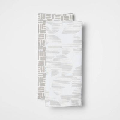 2pk Cotton Geometric Kitchen Towels Gray - Room Essentials™