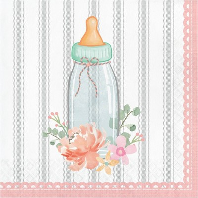 48ct Country Floral Baby Shower Rattle Napkins