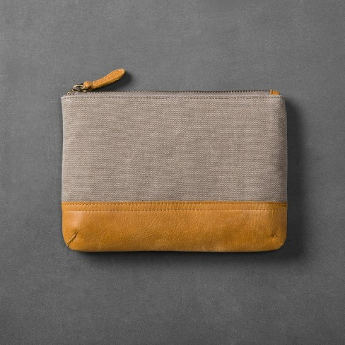 Canvas & Leather Cosmetic Bag - Gray/Tan - Hearth & Hand™ with Magnolia - image 1 of 2