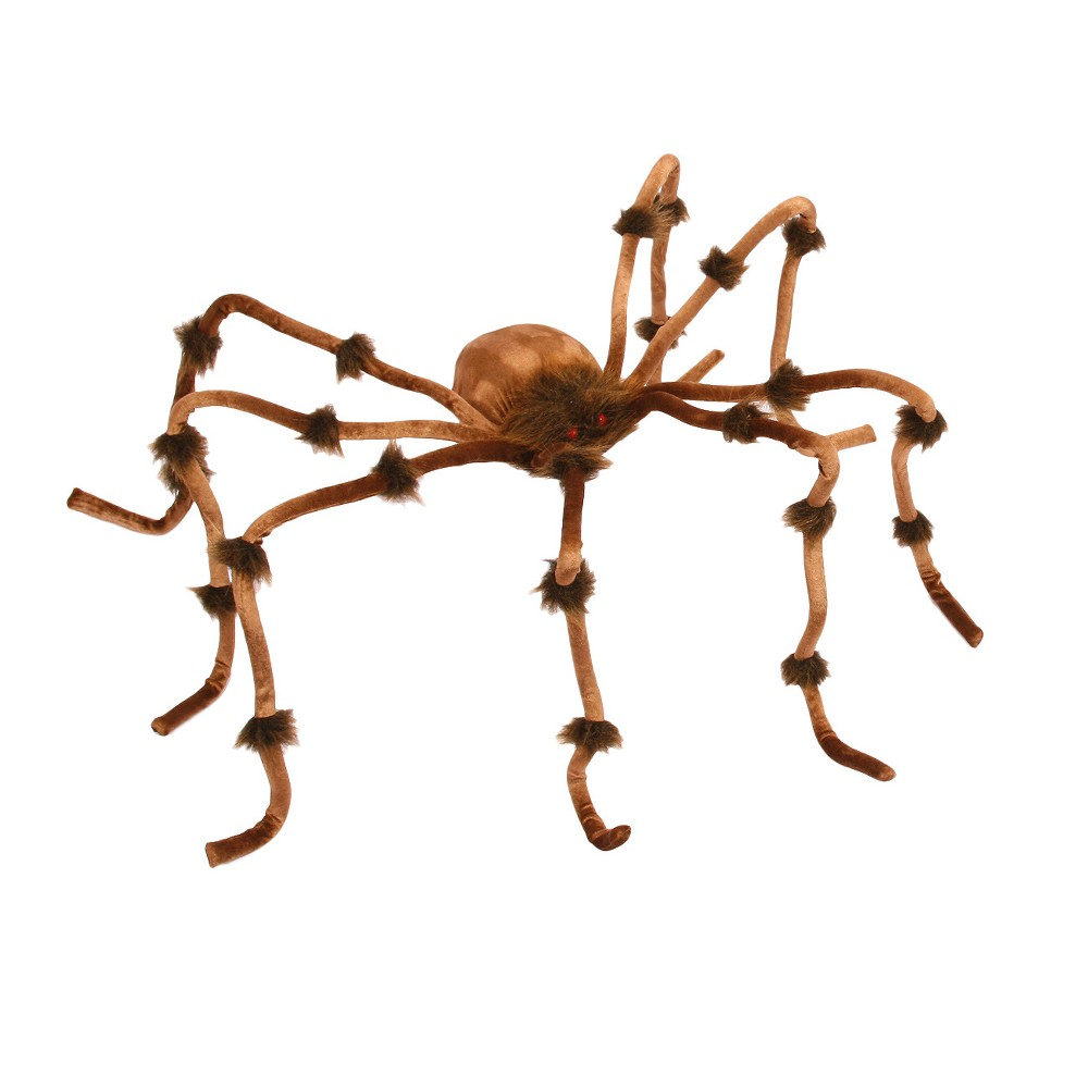 "Image of ""4"""" x 12"""" Halloween Plush Spider Brown"""