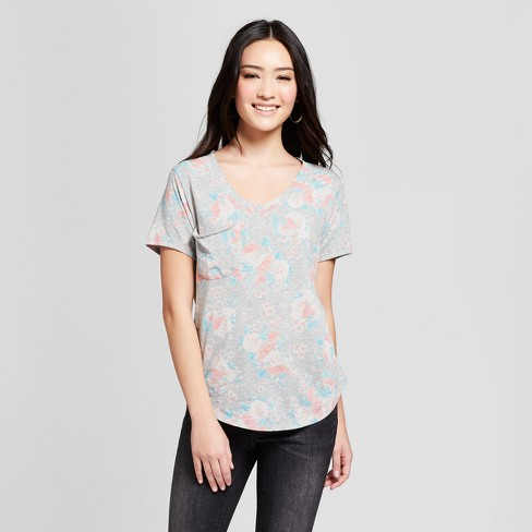Women's Floral Printed Short Sleeve Drapey Pocket T-Shirt - Grayson Threads (Juniors') - Heather Gray - image 1 of 2