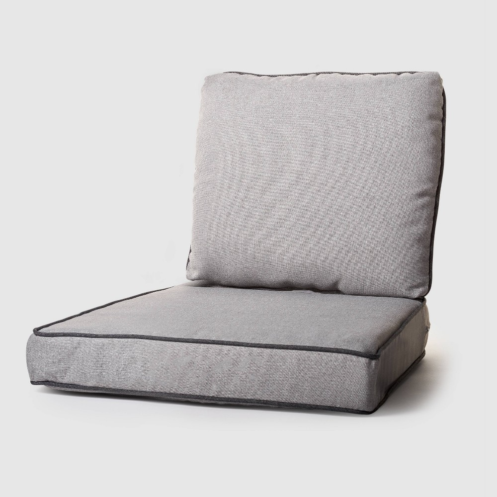 Image of 2pc Rolson Outdoor Seat and Back Replacement Cushions Gray - Grand Basket