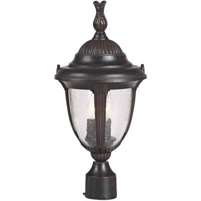 """John Timberland Traditional Outdoor Post Light Bronze Cast Aluminum 19 1/2"""" Seedy Glass for Exterior Garden Yard Driveway"""