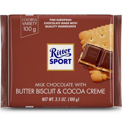 Ritter Sport Milk Chocolate with Butter Biscuit Candy Bar - 3.5oz