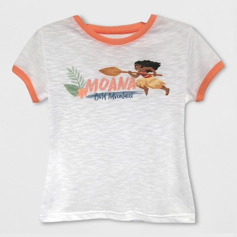 Toddler Girls' Moana Short Sleeve T-Shirt - White 12M - image 1 of 2