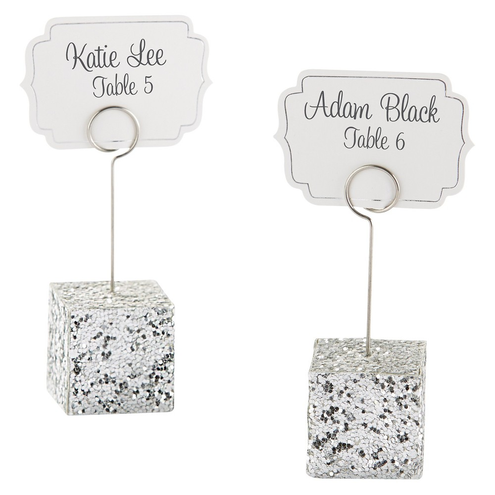 12ct Silver Glitter Placecard Holders, Shiney Silver