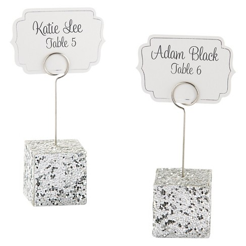 12ct Silver Glitter Placecard Holders