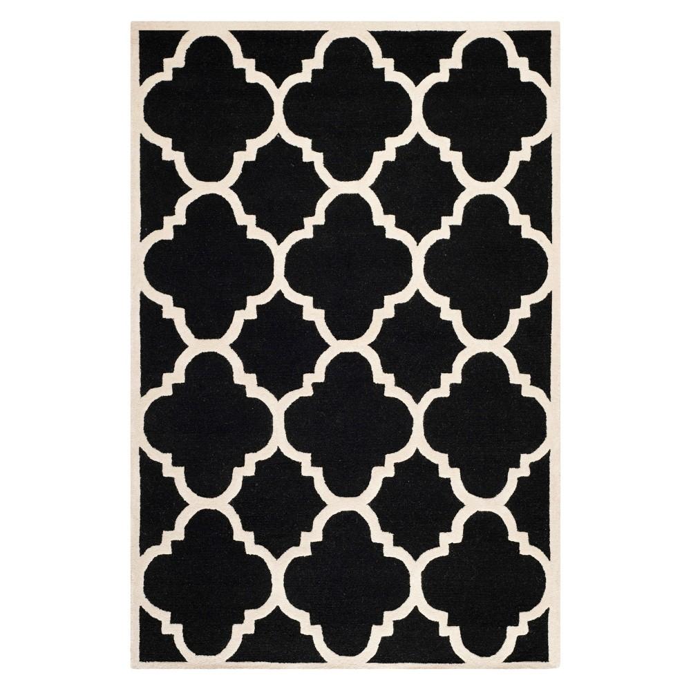 Landon Texture Wool Rug - Black / Ivory (6' X 9') - Safavieh, Black/Ivory