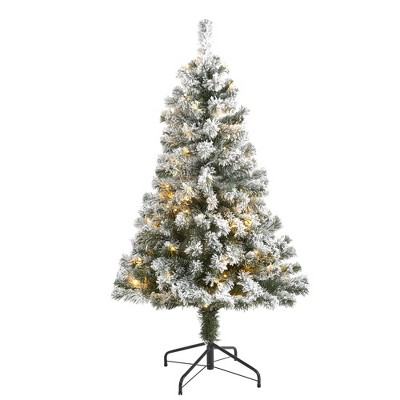 4ft Nearly Natural Pre-Lit LED Flocked West Virginia Fir Artificial Christmas Tree Clear Lights