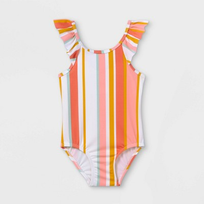 Toddler Girls' Ruffle Striped One Piece Swimsuit - Cat & Jack™ Coral