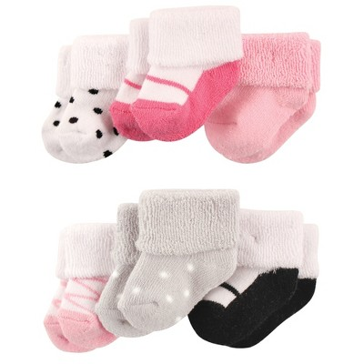 Luvable Friends Baby Girl Newborn and Baby Socks Set, Pink Black Shoes, 0-3 Months