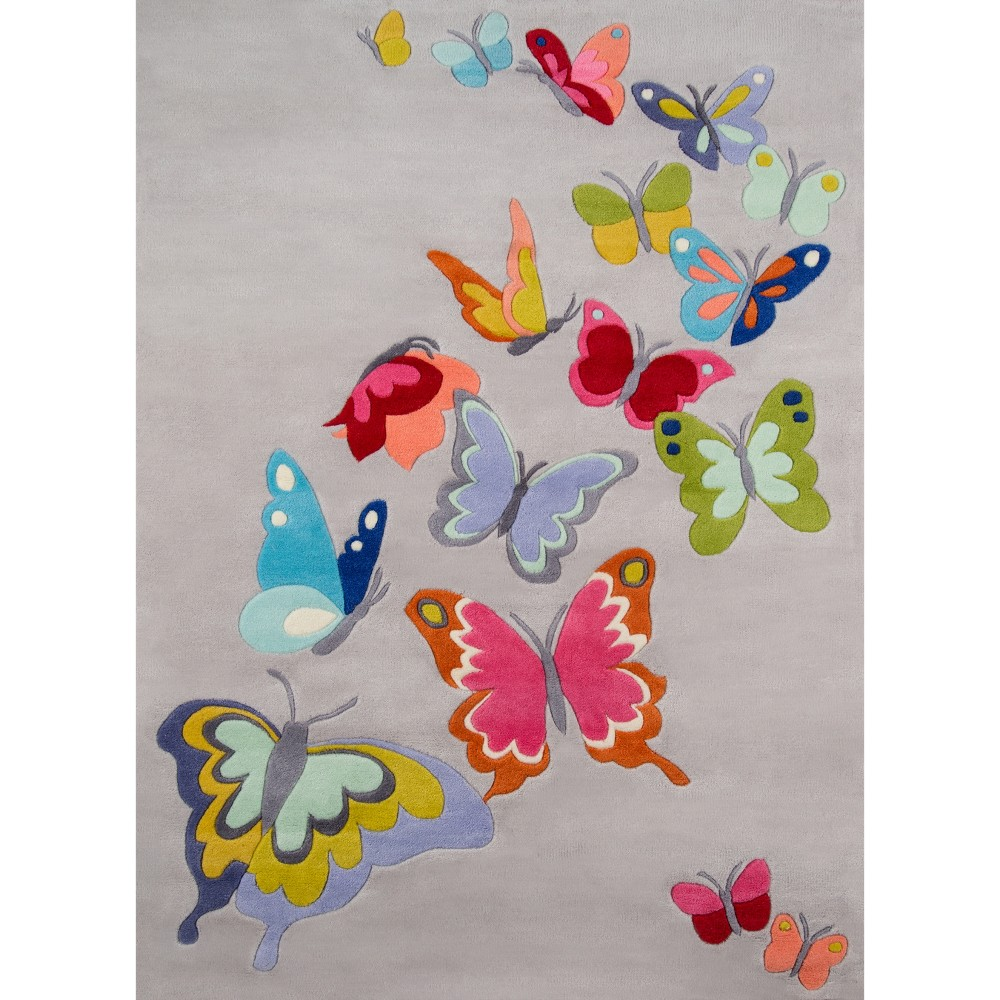 Floating Butterflies Accent Rug - Charcoal - (5'x7'), Gray