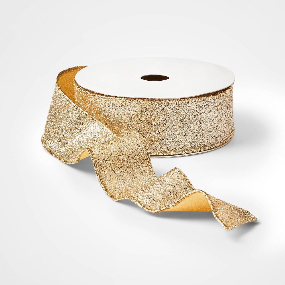 "Image of ""1.5"""" Glitter Christmas Ribbon Gold 21ft - Wondershop"""