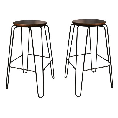 Winston 29  Bar Stool (Set of 2)- Elm/Black - Carolina Chair and Table