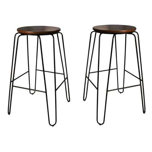 Fabulous 29 Winston Set Of 2 Bar Stool Elm Black Carolina Chair And Table Gamerscity Chair Design For Home Gamerscityorg